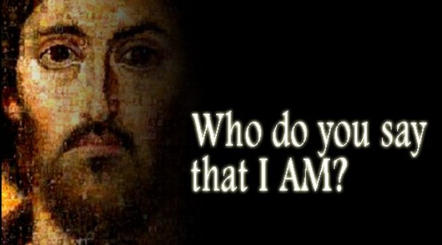 Picture of Christ with who do you say that I am? text