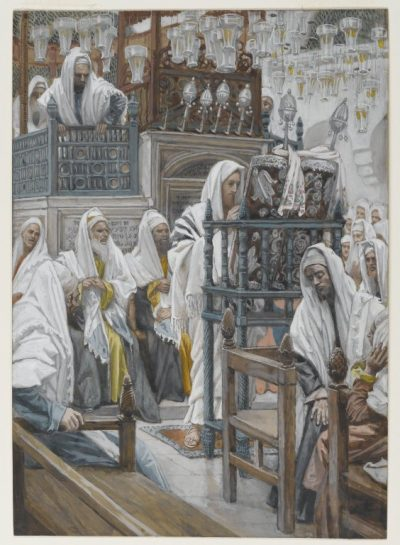 Jesus preaching in synagogue