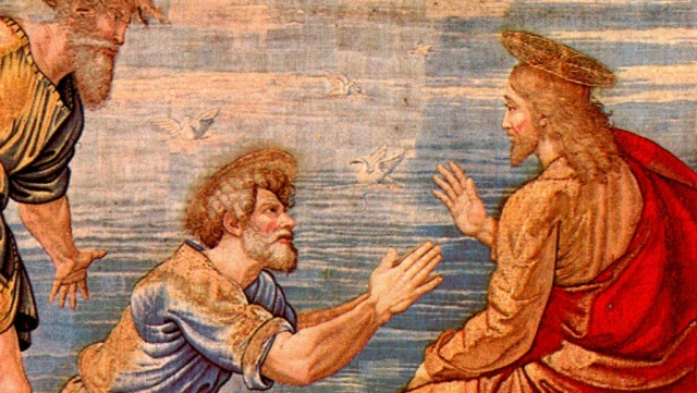 St Peter on his knees before Christ